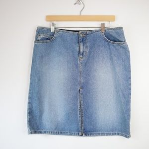 Vintage Classic 13 Denim Fringe Skirt Light Wash